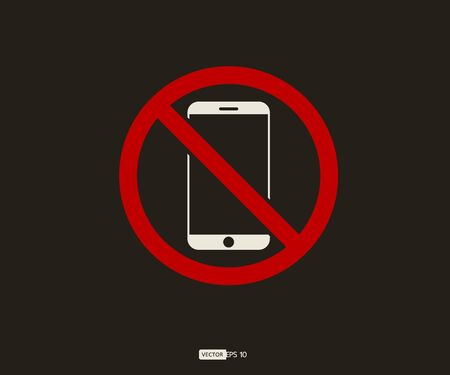 No cell phone, Mobile Phone prohibited, phone  vector illustration