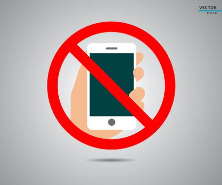 No cell phone, Mobile Phone prohibited, phone logo vector illustration  イラスト・ベクター素材