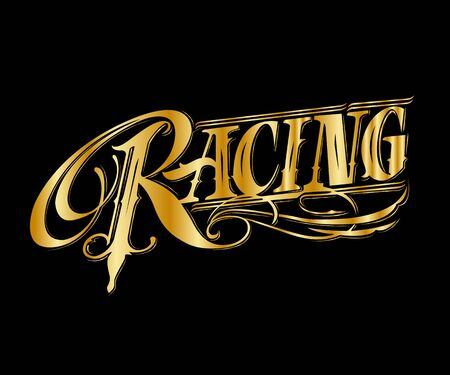 Racing vintage style, Vector illustration in flat style for print or web.