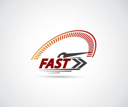 Speed, vector logo racing event, with the main elements of the modification speedometer Illustration