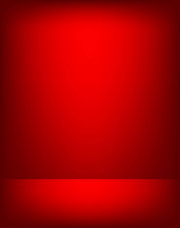 Empty red color studio room luxury background. Abstract gradient red, used as background for display products design web template, Vector illustration