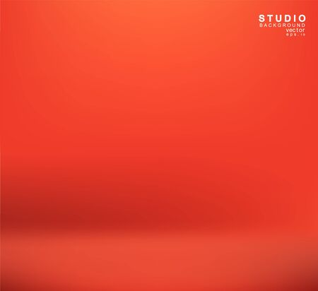 Empty orange color studio room luxury background. Abstract gradient red, display or montage of product design web template, Business backdrop, Vector illustration