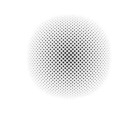 Halftone dotted abstract background circularly distributed. Halftone effect vector pattern. Circle dots isolated on the white background Vetores