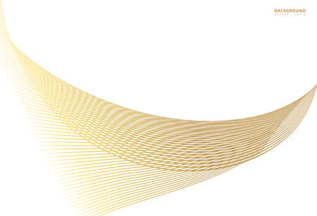 Abstract gold color warped Diagonal Striped Background. Vector curved twisted slanting, waved lines texture. Brand new style for your business design.