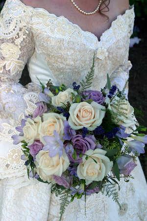 western wedding dress and wedding bouquet