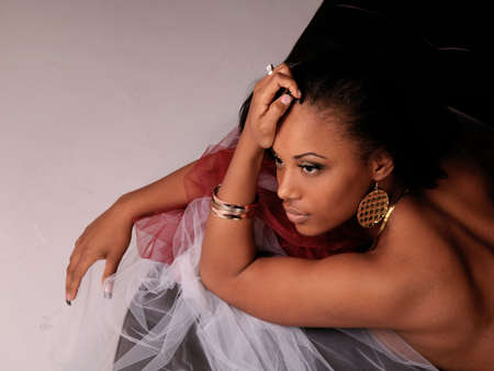 african american woman: Beautiful Black Woman Laying Down