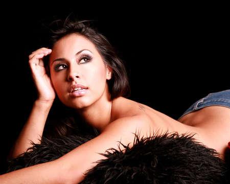 sexy asian woman: Beautiful & Sexy Hispanic Woman Looking Away