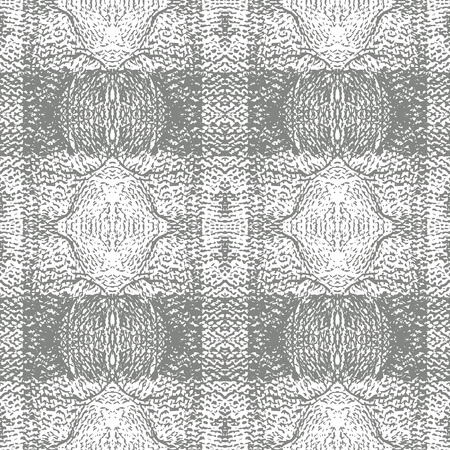 Grey Knitted Plaid Vector Repeat Pattern