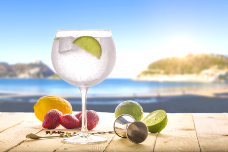 gin tonic on the beach Stock Photo