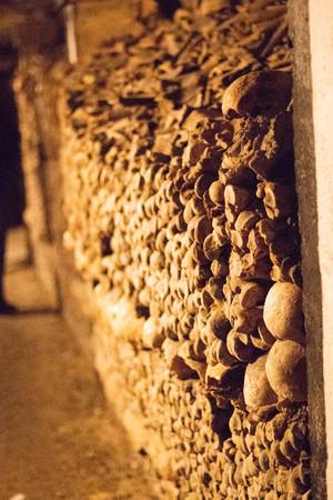 Skulls in Catacombs in Paris, France Stock Photo