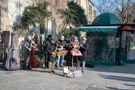 Band playing on Parisian Street.