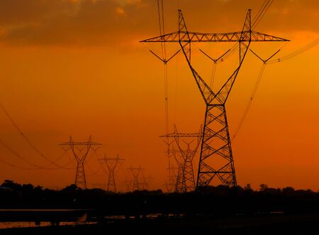 Large electricity poles on a sunny afternoon in Indonesia Stockfoto