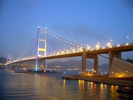 Tsing ma bridge in night scene photo