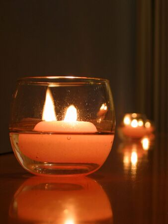 close up of a candle light photo
