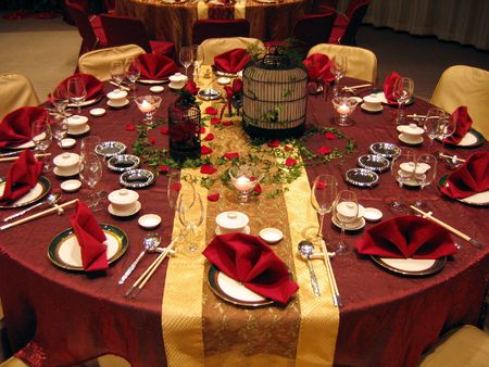 Chino banquete de bodas mesa  Foto de archivo - 586094