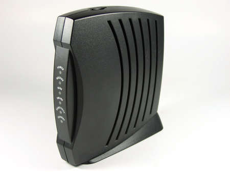 modem: Cable modem with isolated background Stock Photo