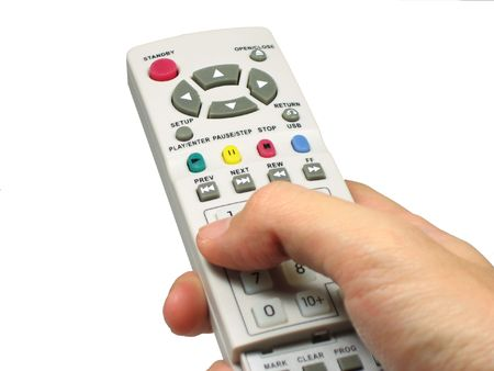 Hand holding dvd player remote control
