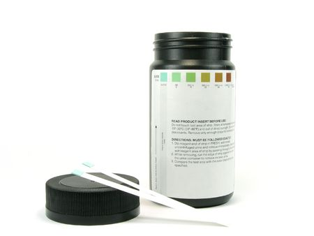 md: A bottle of glucose teststrip, isolated