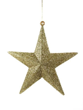 Golden christmas star in isolated background photo