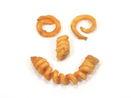 Twister fries smiling face in isolated white