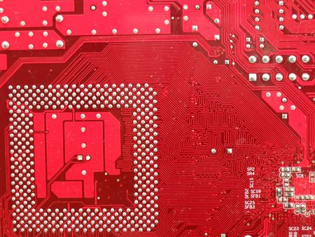 Circuit board in red photo