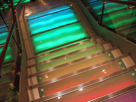 down lights: Stairs with colorful lighting
