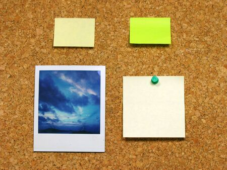 note of exclamation:  photo andamp,amp, post-it on corkboard Stock Photo