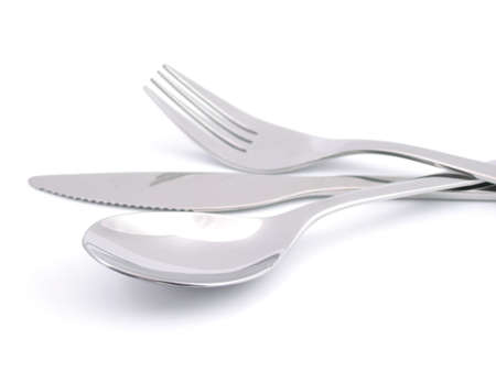 Cutlery in isolated white photo