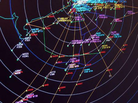 Situación de radar secundario de vigilancia pantalla  Foto de archivo