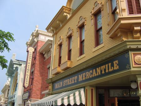 disneyland: Main street building in a theme park