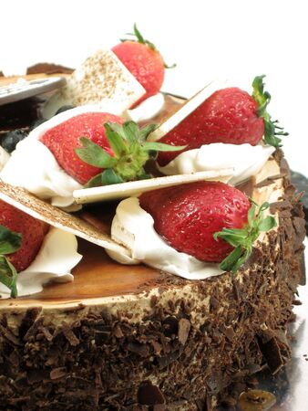 Chocolate cake with strawberries topping, in isolated white