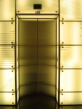 florescent light: Elevator door with lighting