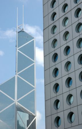 financal: Business building, jardine house and bank of china in Hong Kong Stock Photo