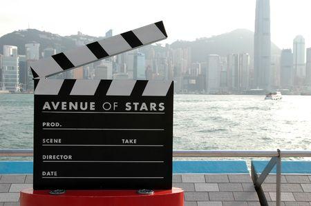 oscars: Film clapboard display at Avenue of Stars in Hong Kong