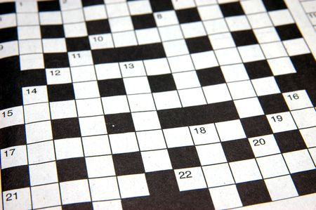 clues: Close up of a crossword puzzle
