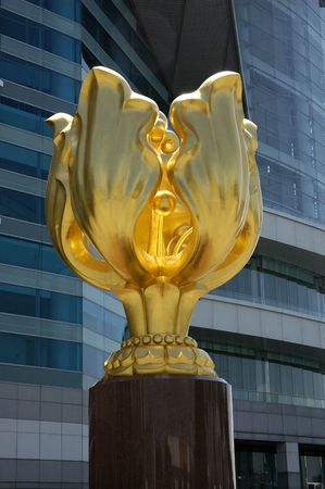 Golden Bauhinia Sculpture at Golden Bauhinia Square of the Hong Kong Convention and Exhibition Centre