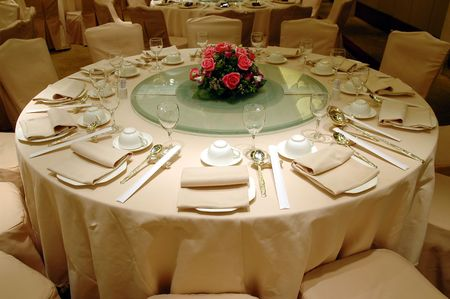 Chinese wedding banquet table setting Stock Photo - 592269