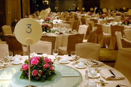 Chinese wedding banquet table setting photo