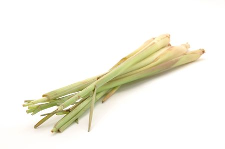 Lemon grass in isolated white photo