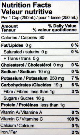 Nutrition facts of a bottle of juice photo