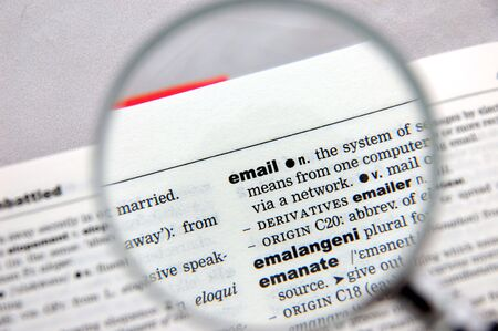 emphasized: Definition of email emphasized by a magnifying glass