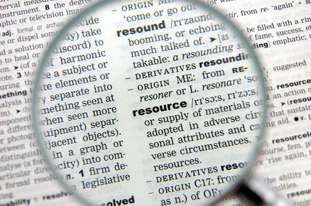 emphasized: Definition of resource emphasized by a magnifying glass