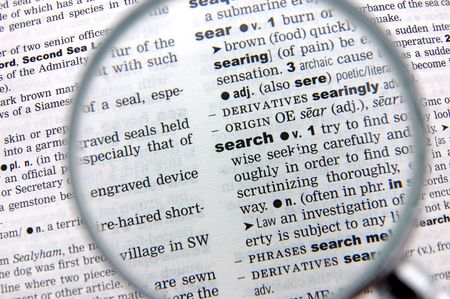 emphasized: Definition of search emphasized by a magnifying glass