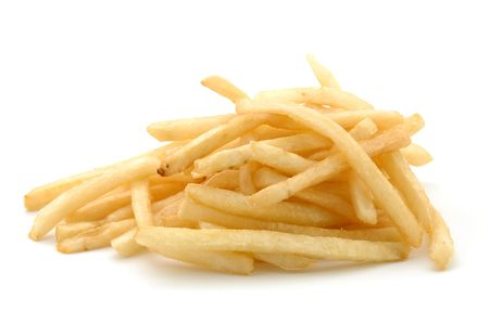 French fries in isolated white