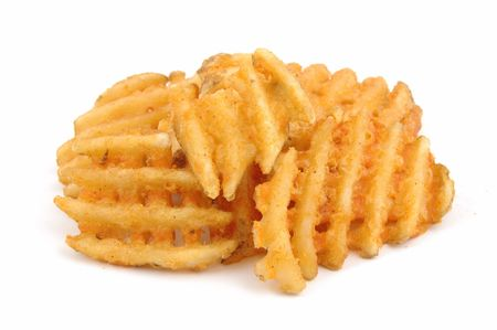 criss: Criss cut fries in isolated white Stock Photo