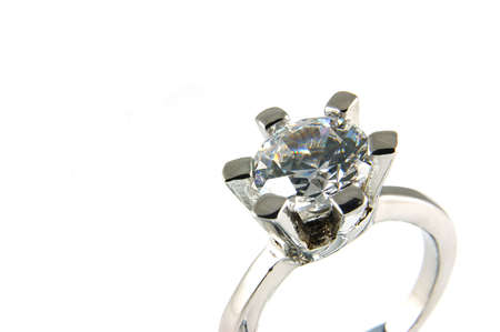 Big crystal ring in isolated white