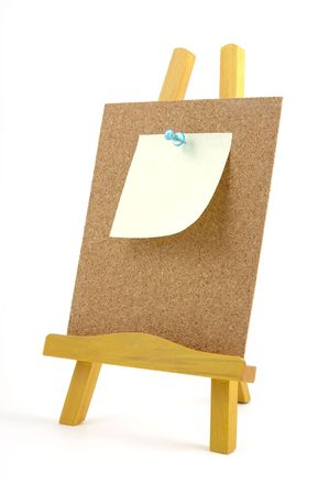 bulletinboard: Pinned note on corkboard with wooden stand, isolated background