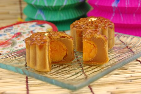 Close up of mooncake on a plate Stock Photo - 601144