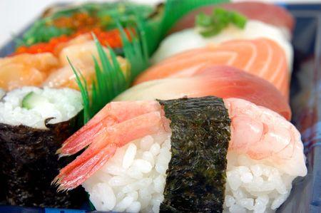 Gros plan de la crevette sushi  Banque d'images