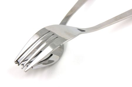 Two forks in isolated white background photo